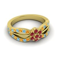 Simple Floral Pave Kalikda Ruby Ring with Swiss Blue Topaz and Citrine in 14k Yellow Gold