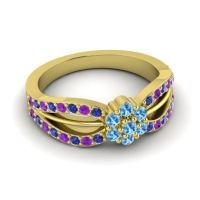 Simple Floral Pave Kalikda Swiss Blue Topaz Ring with Amethyst and Blue Sapphire in 14k Yellow Gold