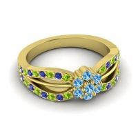 Simple Floral Pave Kalikda Swiss Blue Topaz Ring with Blue Sapphire and Peridot in 18k Yellow Gold