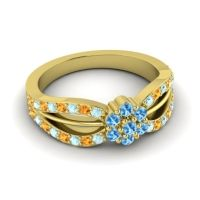 Simple Floral Pave Kalikda Swiss Blue Topaz Ring with Citrine and Aquamarine in 18k Yellow Gold