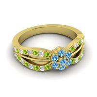 Simple Floral Pave Kalikda Swiss Blue Topaz Ring with Diamond and Peridot in 18k Yellow Gold