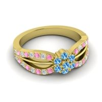 Simple Floral Pave Kalikda Swiss Blue Topaz Ring with Diamond and Pink Tourmaline in 18k Yellow Gold
