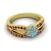 Simple Floral Pave Kalikda Swiss Blue Topaz Ring with Garnet and Ruby in 14k Yellow Gold