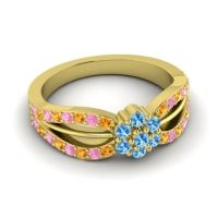 Simple Floral Pave Kalikda Swiss Blue Topaz Ring with Pink Tourmaline and Citrine in 18k Yellow Gold
