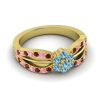 Simple Floral Pave Kalikda Swiss Blue Topaz Ring with Pink Tourmaline and Garnet in 14k Yellow Gold