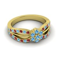 Simple Floral Pave Kalikda Swiss Blue Topaz Ring with Ruby in 18k Yellow Gold