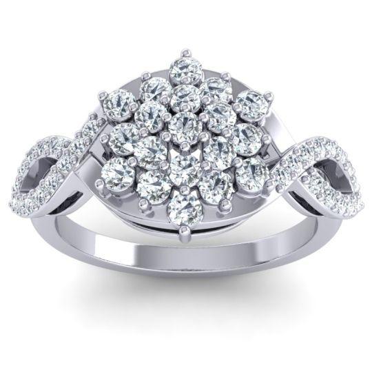 Simple Floral Pave Vikasati Diamond Ring in 14k White Gold