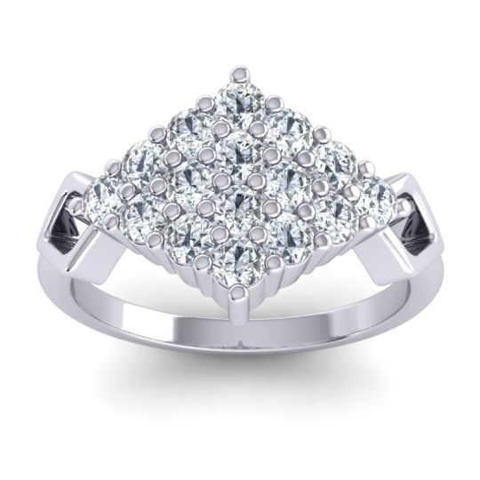 Simple Pave Art Deco Hira Diamond Ring in 14k White Gold