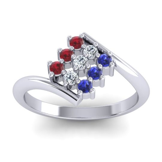 Simple Pave Bypass Navaza Diamond Ring with Ruby and Blue Sapphire in 14k White Gold