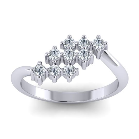 Simple Pave Bypass Pravat Diamond Ring in 14k White Gold
