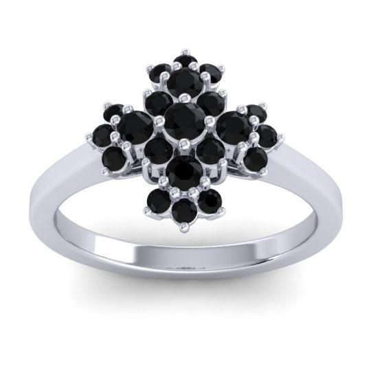 Simple Pave Kakara Black Onyx Ring in 14k White Gold