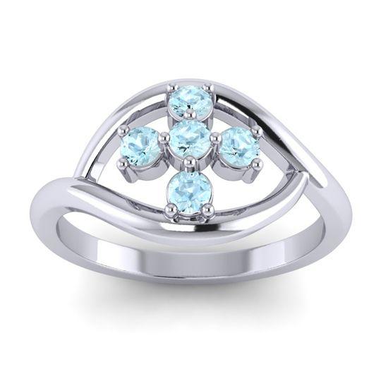 Simple Pave Rekhana Aquamarine Ring in 14k White Gold