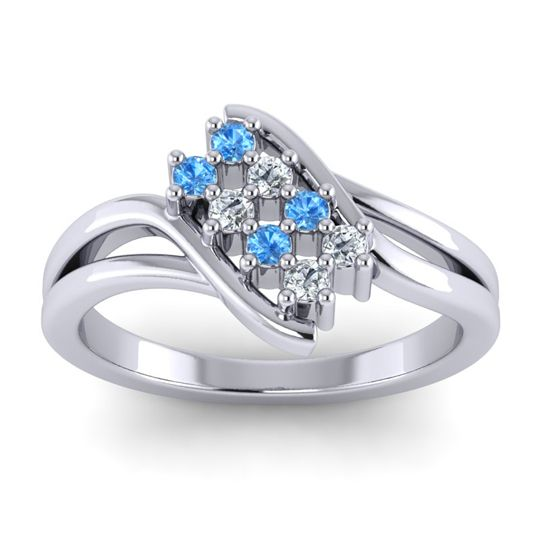 Simple Pave Bypass Agati Swiss Blue Topaz Ring with Diamond in 14k White Gold