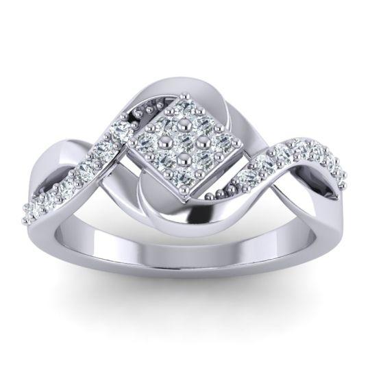 Simple Pave Bypass Pratika Diamond Ring in 14k White Gold