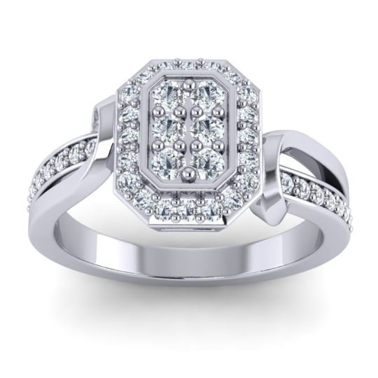 Simple Modern Pave Citra Diamond Ring in 14k White Gold
