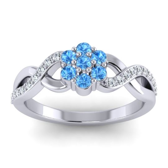 Simple Floral Pave Parisar Swiss Blue Topaz Ring with Diamond in 14k White Gold