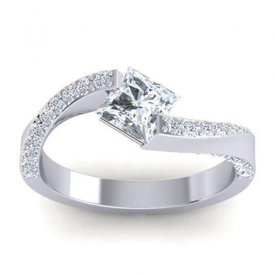 Bypass Princess Pave Navina Diamond Ring in 14k White Gold
