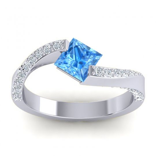 Swiss Blue Topaz Bypass Princess Pave Navina Ring with Diamond in 14k White Gold