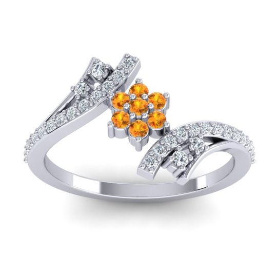 Simple Floral Pave Bypass Anvaya Citrine Ring with Diamond in 14k White Gold