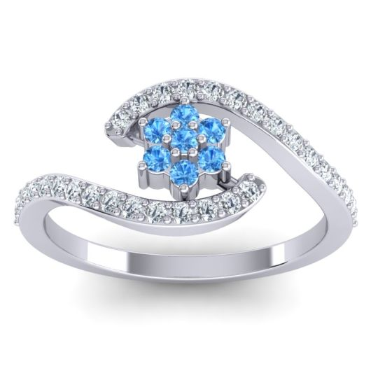Simple Floral Pave Bypass Plava Swiss Blue Topaz Ring with Diamond in 14k White Gold