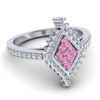 Statement Pave Vajra Pink Tourmaline Ring with Diamond in 14k White Gold