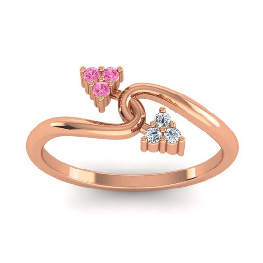 Petite Bypass Alamba Pink Tourmaline Ring with Diamond in 14K Rose Gold