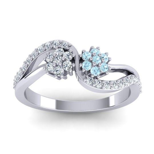 Simple Floral Pave Prabadara Aquamarine Ring with Diamond in 14k White Gold