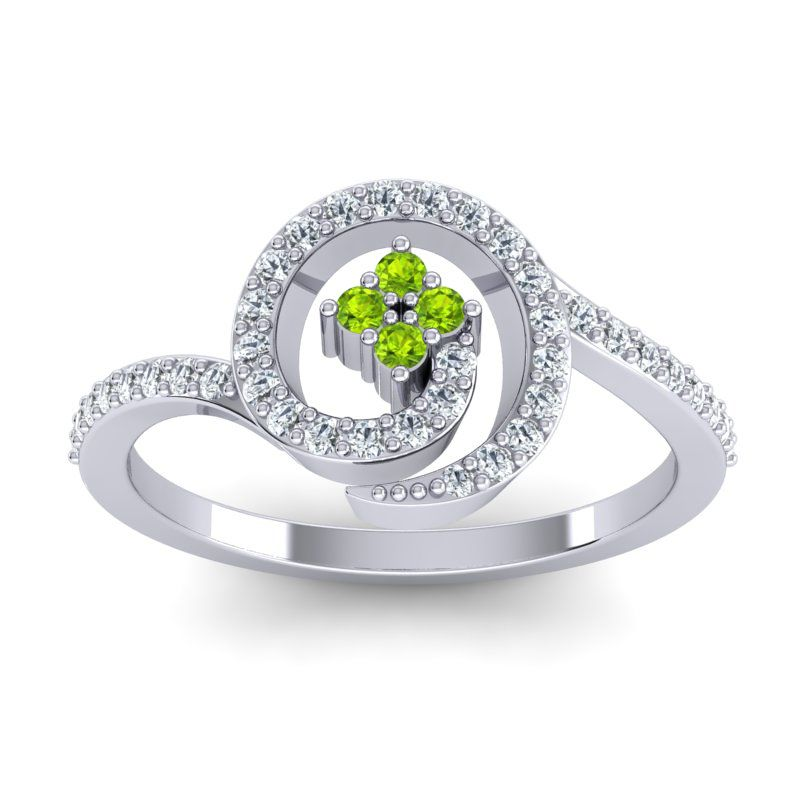 Simple Pave Valaya Ring with Peridot & Diamond in 14k White Gold