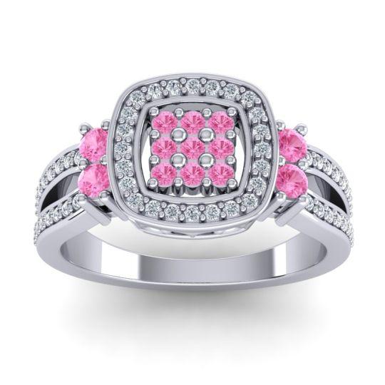 Statement Pave Zayana Pink Tourmaline Ring with Diamond in 14k White Gold