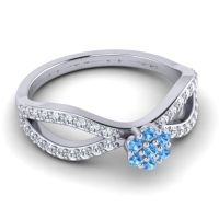 Swiss Blue Topaz Petite Floral Gairi Ring with Diamond in 14k White Gold