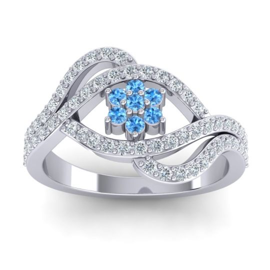Statement Floral Pave Gahana Swiss Blue Topaz Ring with Diamond in 14k White Gold