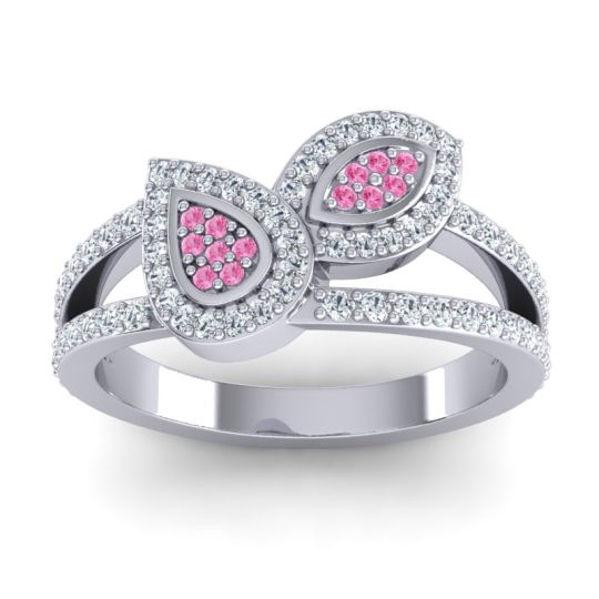 Statement Pave Patra Pink Tourmaline Ring with Diamond in 14k White Gold