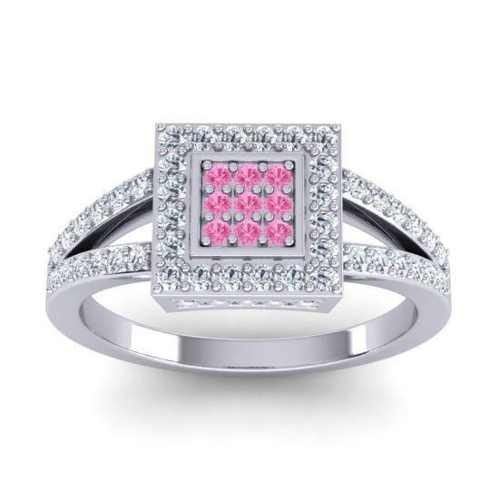 Statement Pave Bhanda Pink Tourmaline Ring with Diamond in 14k White Gold