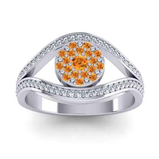 Statement Floral Pave Darzana Citrine Ring with Diamond in 14k White Gold