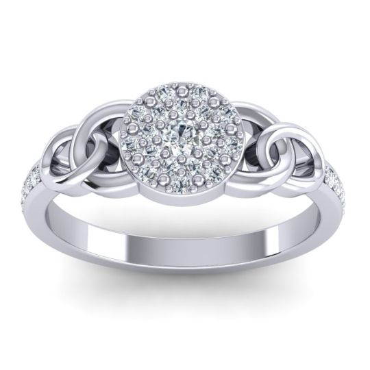 Statement Floral Pave Mekhala Diamond Ring in 14k White Gold