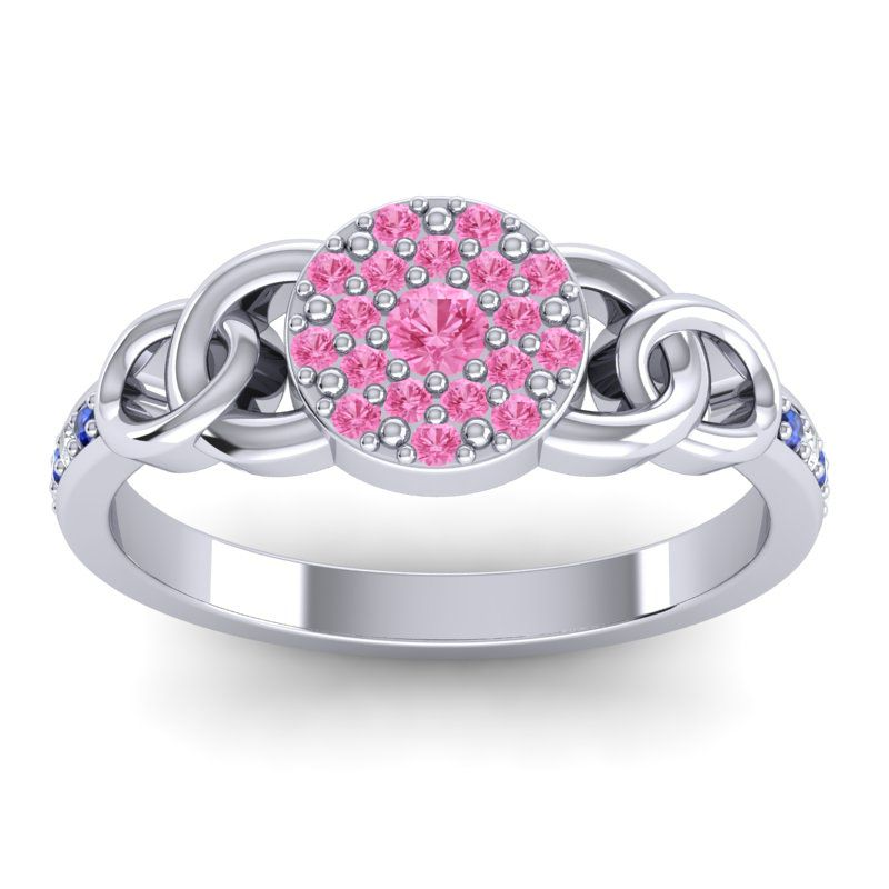 Pink Tourmaline Statement Floral Pave Mekhala Ring with Diamond and Blue Sapphire in 14k White