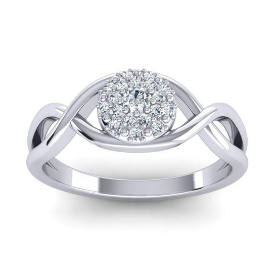 Diamond Statement Floral Pave Jalaka Ring in 14k White Gold