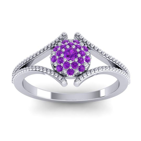 Statement Floral Pave Tantu Amethyst Ring in 14k White Gold