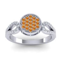 Statement Floral Pave Nikaya Citrine Ring with Diamond in 14k White Gold