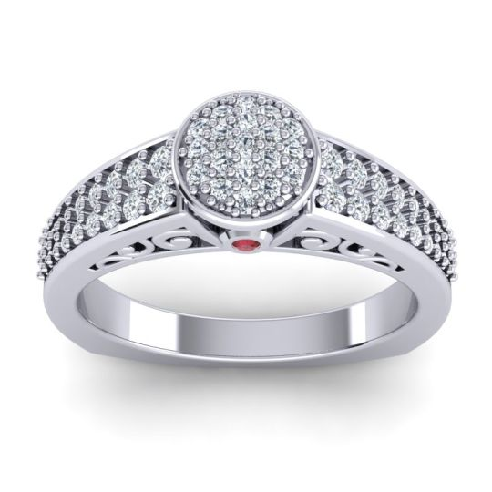 Statement Floral Pave Utsa Diamond Ring with Ruby in 14k White Gold
