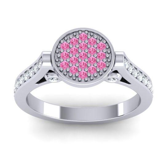 Statement Floral Pave Gavaksa Pink Tourmaline Ring with Diamond in 14k White Gold