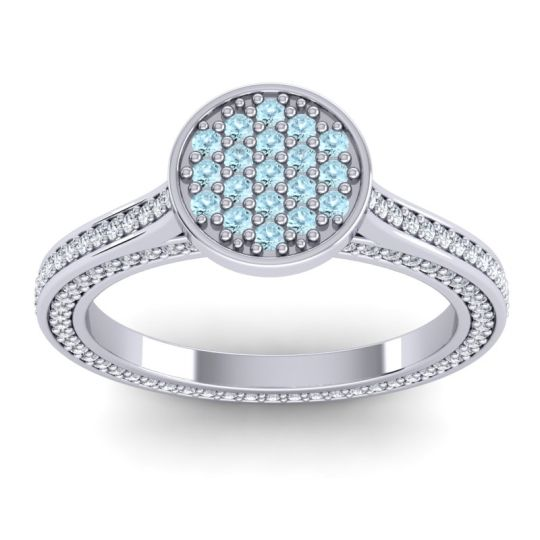 Statement Floral Pave Plavaka Aquamarine Ring with Diamond in 14k White Gold