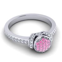 Pink Tourmaline Statement Floral Pave Pezika Ring with Diamond in 14k White Gold
