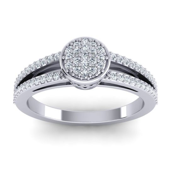 Statement Floral Pave Zikya Diamond Ring in 14k White Gold