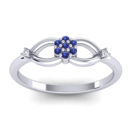 Blue Sapphire Petite Floral Phulla Ring with Diamond in 14k White Gold