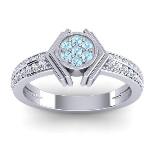Simple Floral Art Deco Kusumina Aquamarine Ring with Diamond in 14k White Gold
