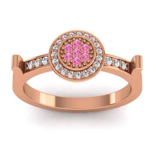 Statement Floral Pave Ragga Pink Tourmaline Ring with Diamond in 14K Rose Gold