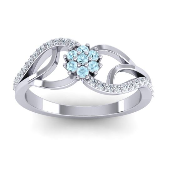 Petite Floral Udyana Aquamarine Ring with Diamond in 14k White Gold