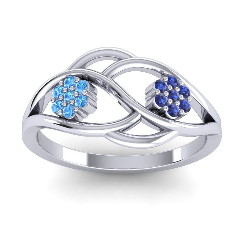 Petite Floral Yama Ring with Swiss Blue Topaz in 14k White Gold