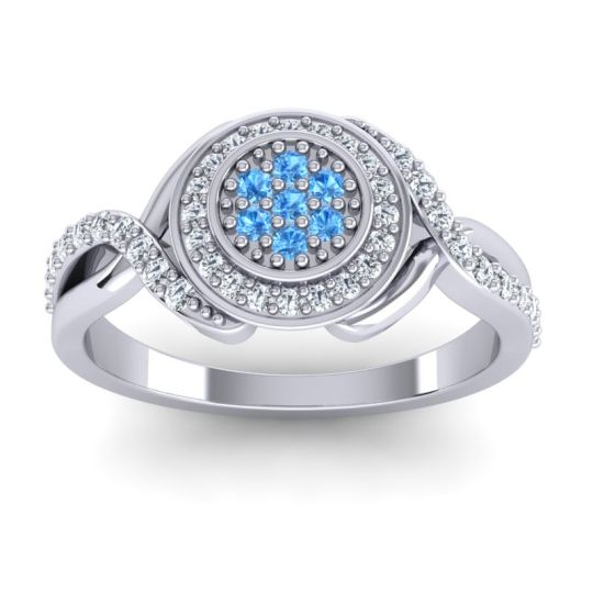 Statement Floral Pave Bhumi Swiss Blue Topaz Ring with Diamond in 14k White Gold